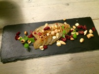 Peaches pear with caramelised sugar, hazelnuts and cranberries